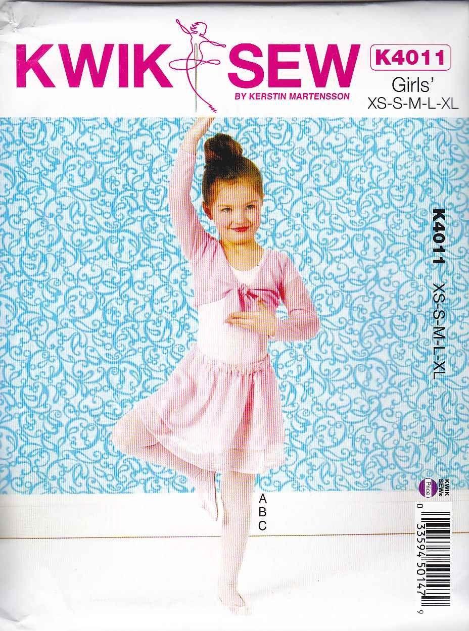 Kwik Sew Sewing Pattern 4011 Girls Sizes 4-14 Leotard Skirt Shrug ...