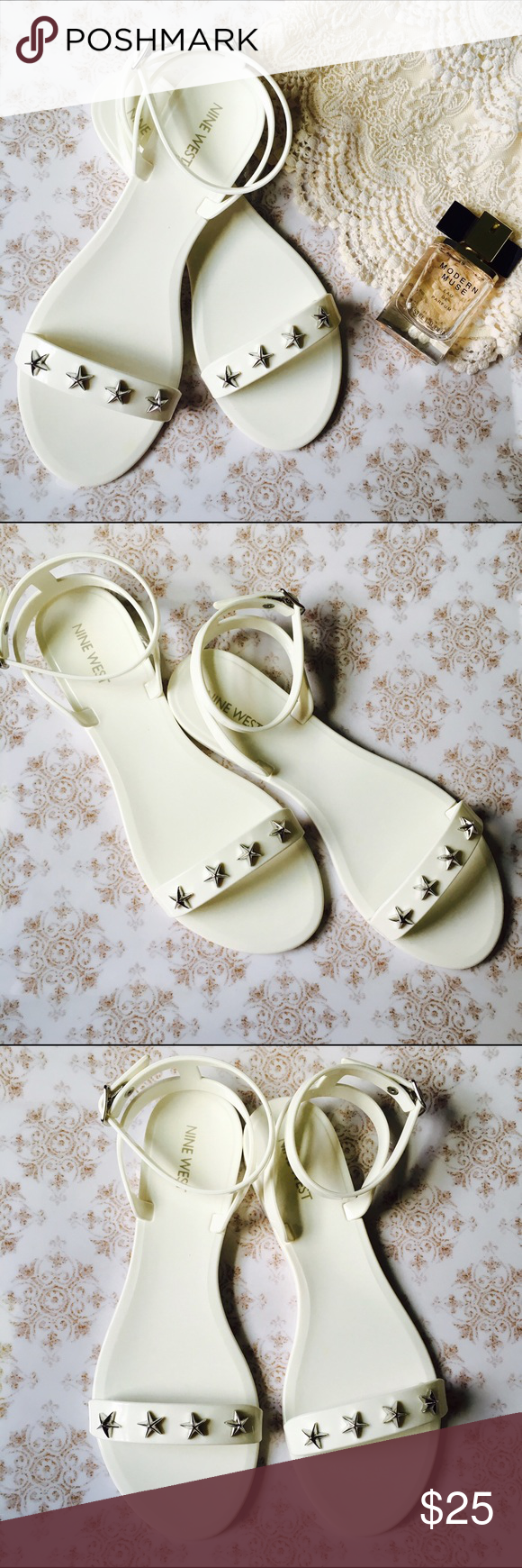 White Strappy Nine West Jelly Sandals These shoes are super cute and go with any outfit! I've only worn them twice and they are in excellent condition. There is very minimal damage on the bottom of the shoe from them touching the ground. They are a plastic/ jelly material. They are white with silver star accents. Feel free to ask questions, as I am always willing to negotiate price. Thanks! Nine West Shoes Sandals