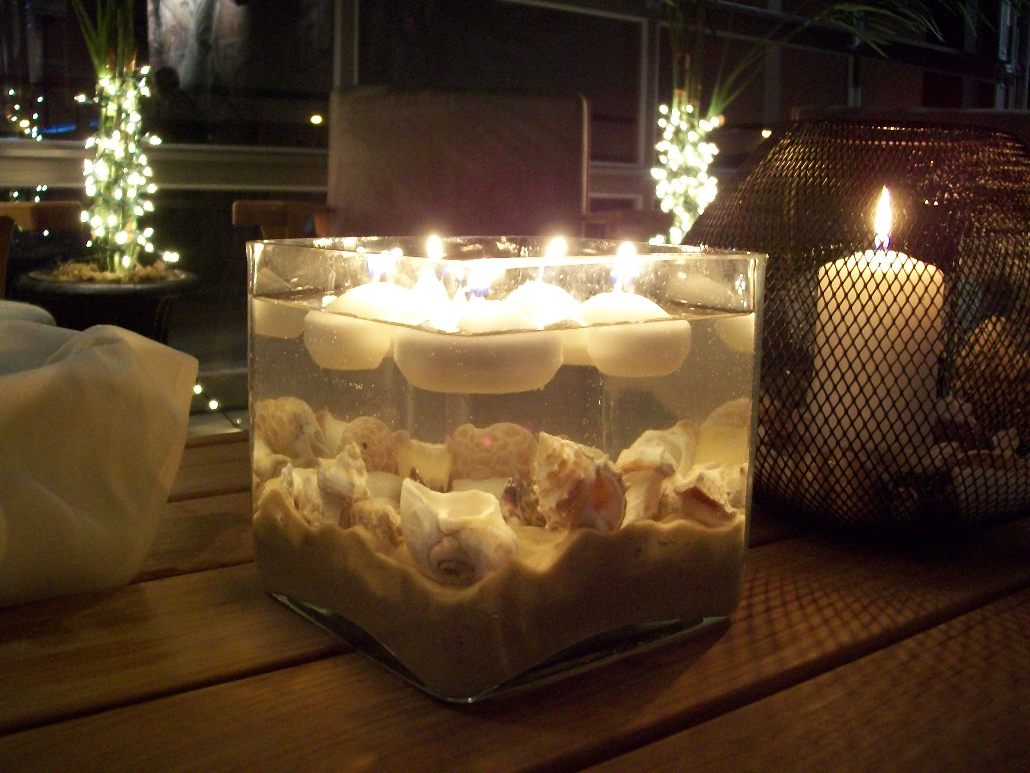 pinterest wedding table decorations candles%0A Seashell Centerpiece