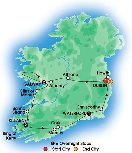 Map Of Ireland Showing Athlone.New For 2016 9 Day Ireland S Road To Freedom Deluxe Superior