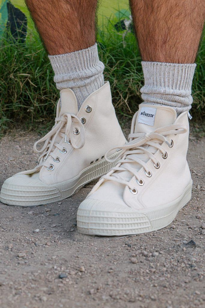 Men's White high top canvas sneakers