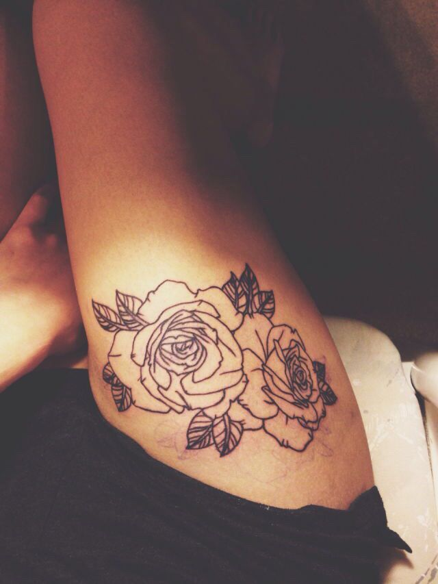 Simple Two Rose Thigh Tattoo Love Girl Thigh Tattoos Cute Thigh Tattoos Rose Tattoo Thigh