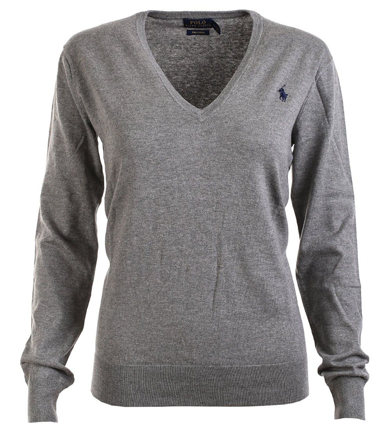 4f13f235922831 Polo Ralph Lauren Womens Pima Cotton V-Neck Sweater (M, Fawn Grey) at Amazon  Women's Clothing store: