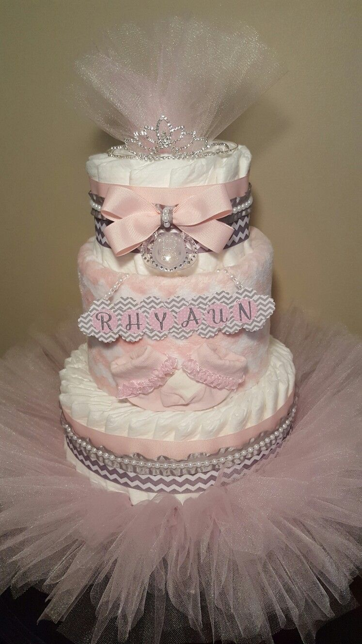 Diamonds And Pearls For This Baby Girl 3 Tier Diaper Cake
