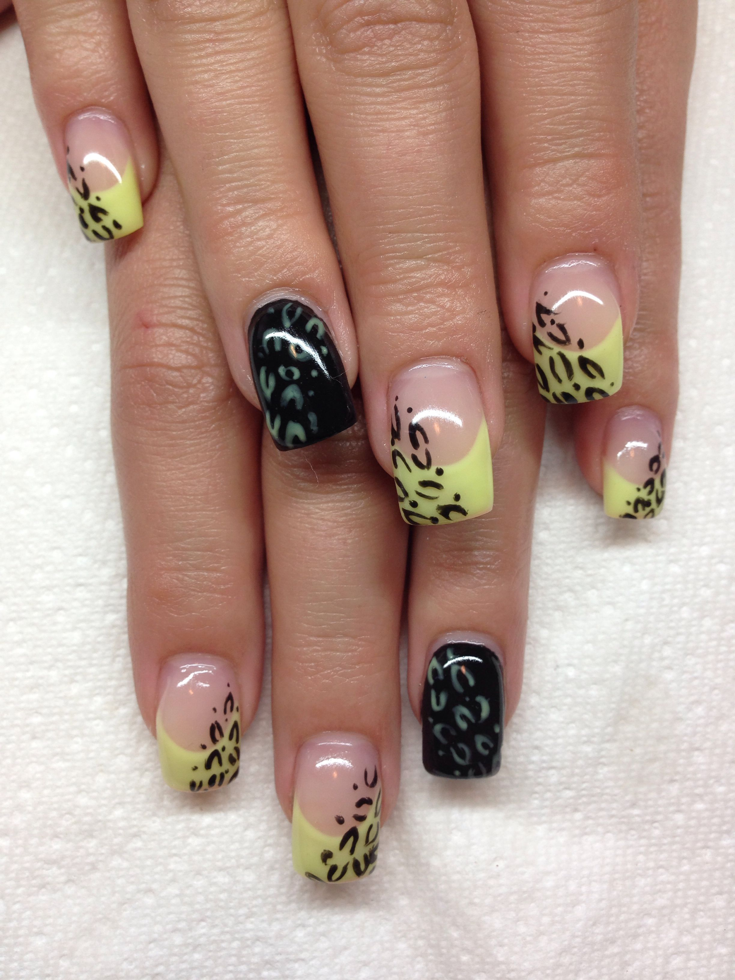 Gel nails with hand drawn design using gel By Melissa Fox | Nails ...