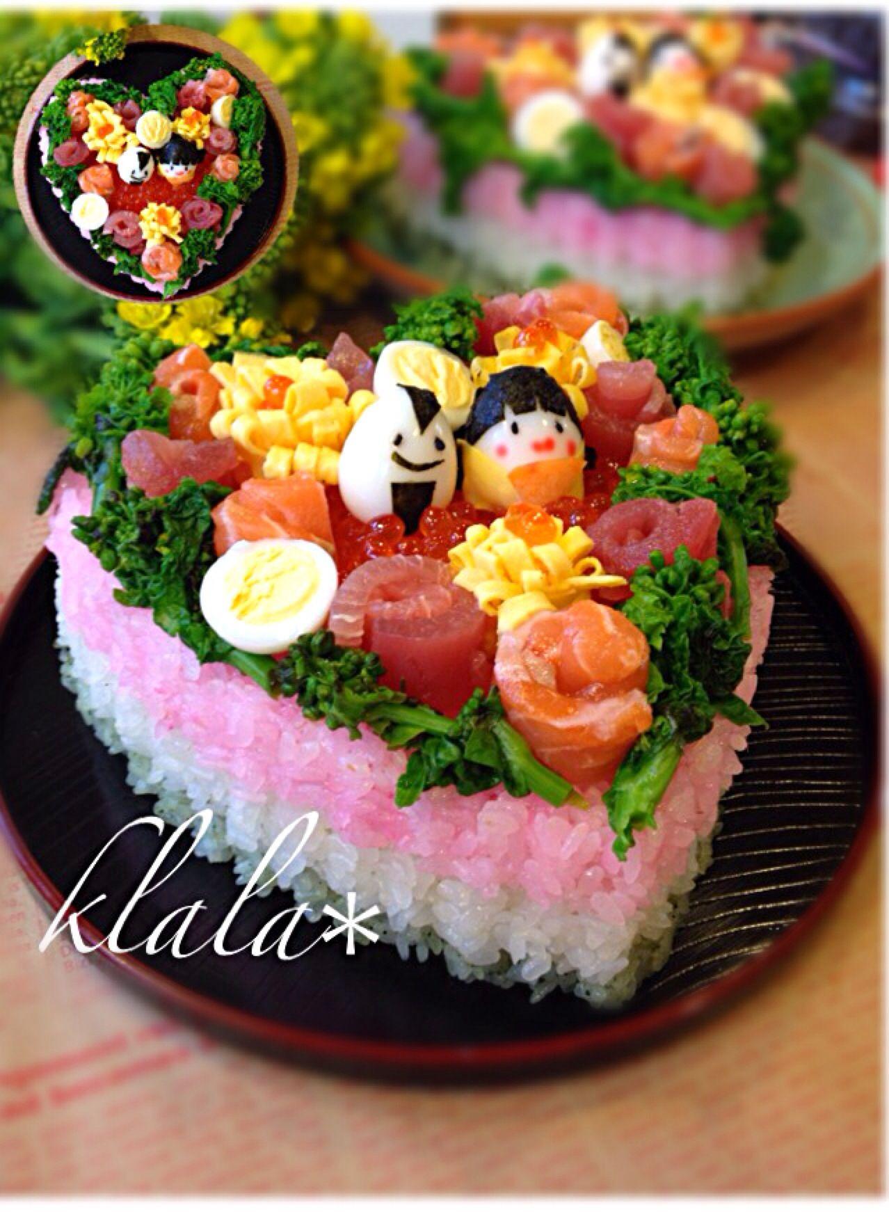 くらら's dish photo の雛寿司   http://snapdish.co #SnapDish #ひな祭り お寿司グランプリ #晩ご飯 #ひな祭り #お寿司