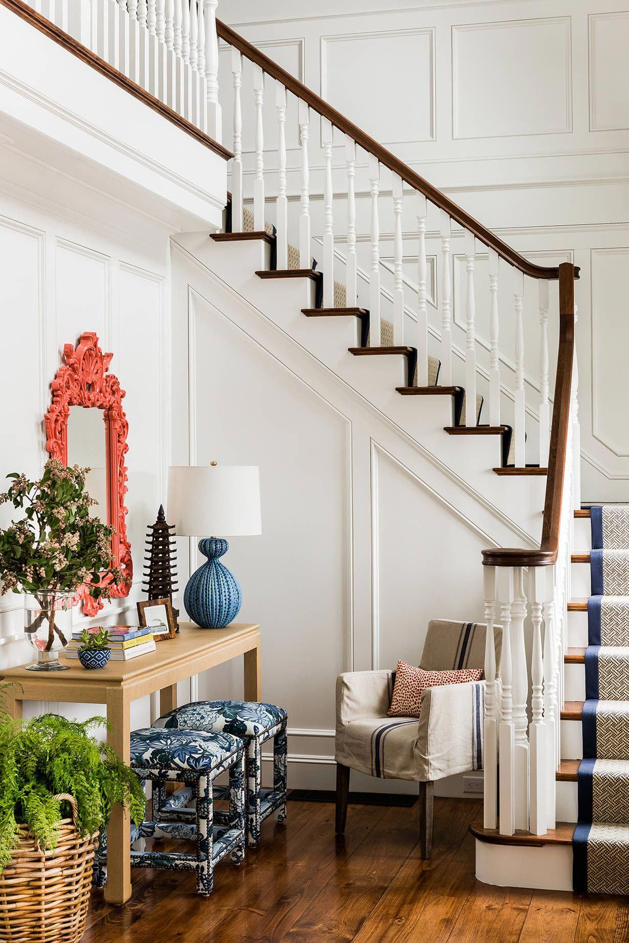 Inspiring interior decor with stark carpet blue ottoman and beach style staircase also console table plus coral mirror slipcovered rh in pinterest