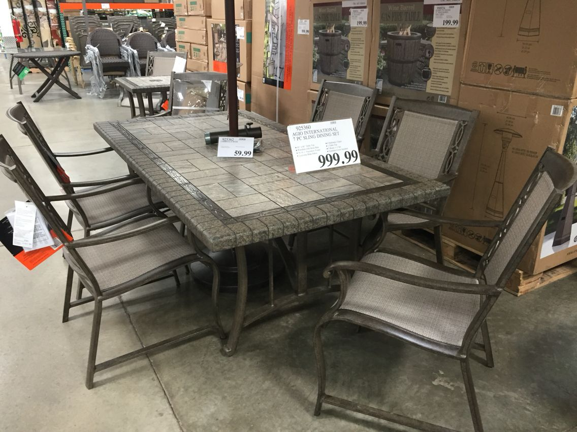 agio international 7 piece patio dining set at costco 999 union rh pinterest com