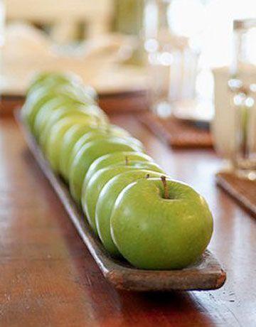 table basics. green apples.