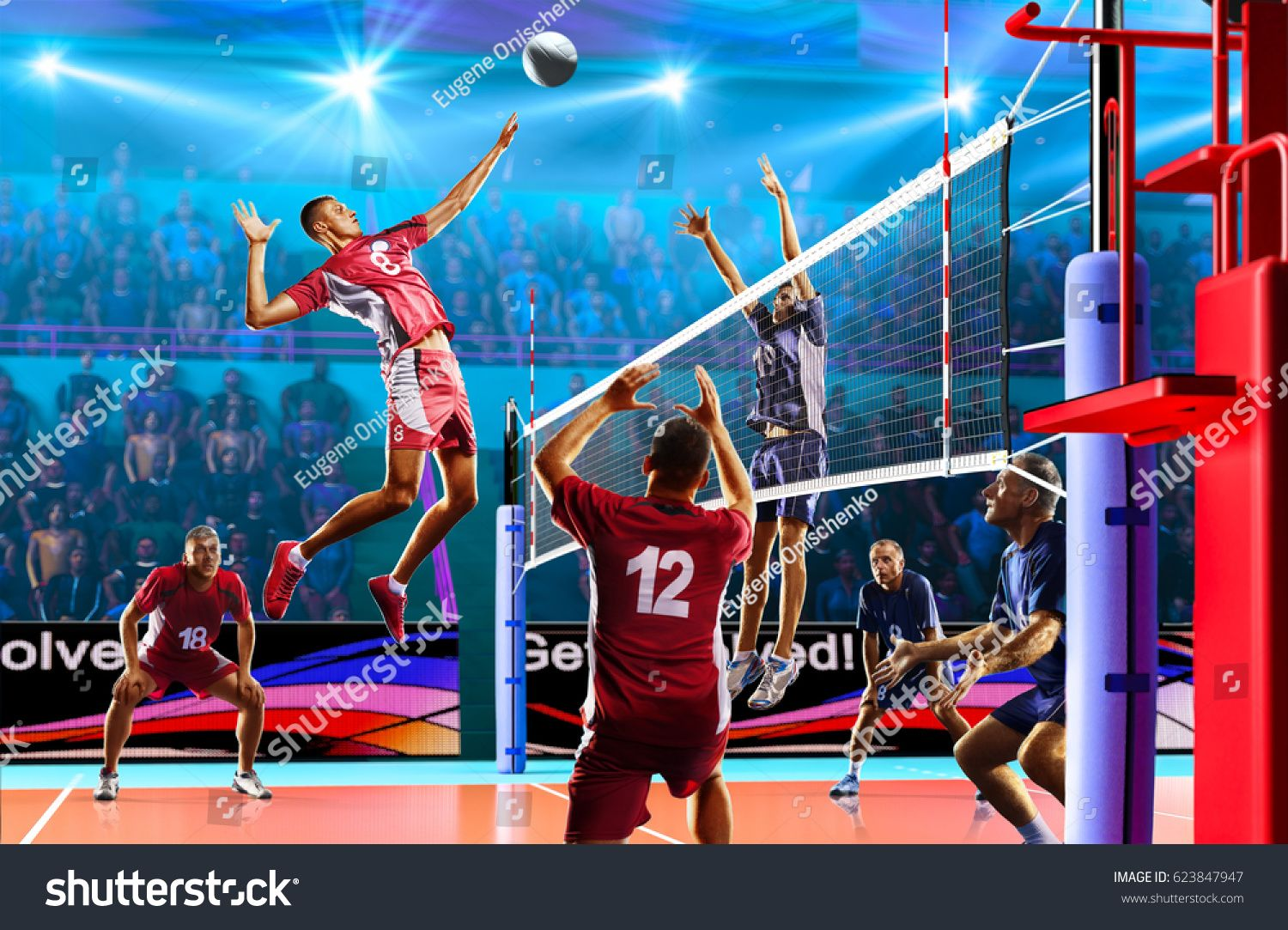 Professional Volleyball Players In Action On The Grand Court Ad Sponsored Players Volleybal Professional Volleyball Players Volleyball Players Volleyball