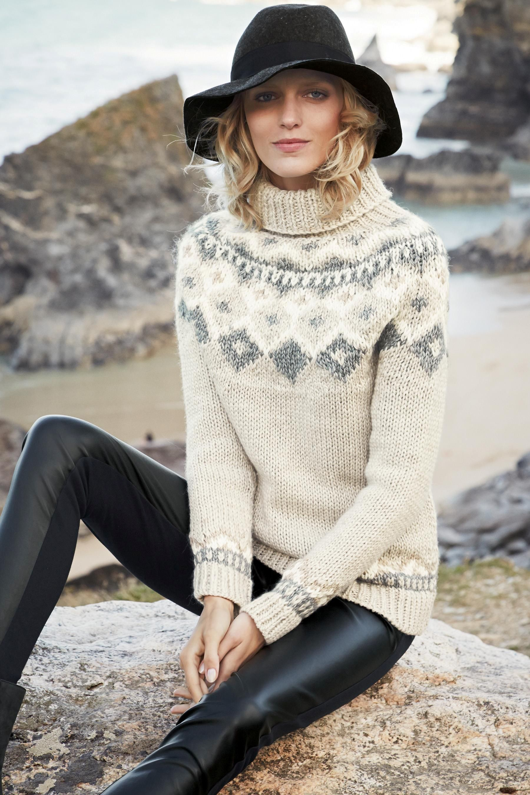 Fairisle Pattern Handknit Sweater - Next
