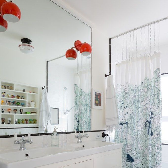 Shower Curtain Hooks And Rod, Light Fixture, Floor And Shower Tilework, Odensvik  Double Sink Top From Ikea.