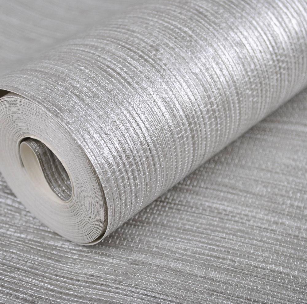 Modern Vinyl Metallic Faux Grasscloth Wallpaper,Silver