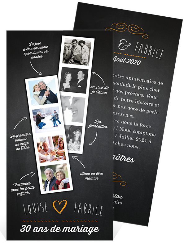 invitation anniversaire de mariage pour faire la r trospective de vos 30 ans d 39 amour ref n22130. Black Bedroom Furniture Sets. Home Design Ideas