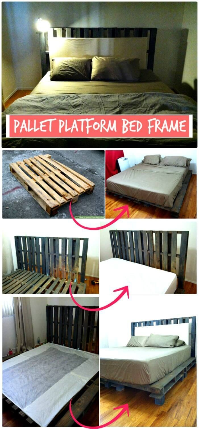 Diy wood platform bed frame  pallet bed ideas  step by step pallet bed frame tutorials