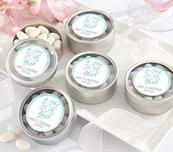 Personalized Silver Round Candy Tin – He Asked, She Said Yes (Set of 12)