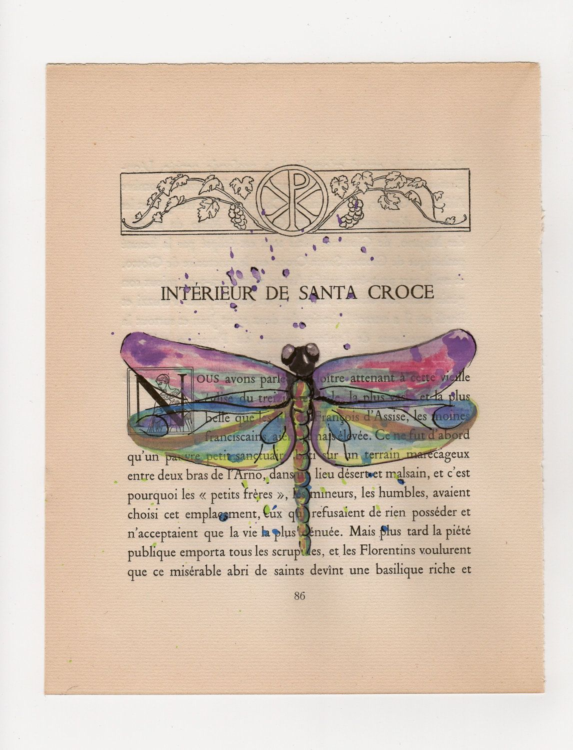 Purple Dragonfly Original Watercolor Painting On Old Book Page
