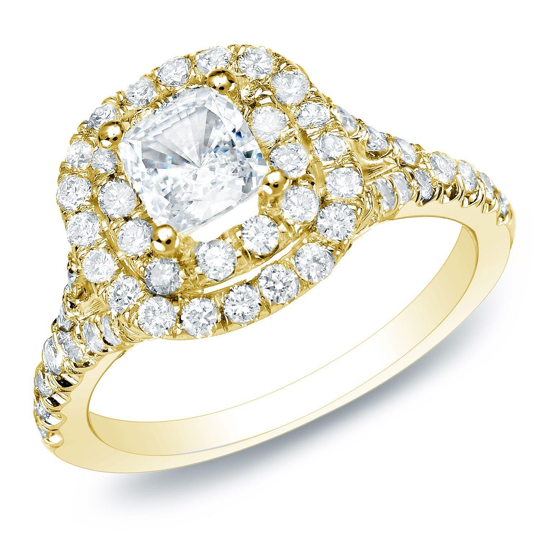 Auriya 14k Gold 1 3 4ct TDW Certified Diamond Halo Engagement Ring H I SI1