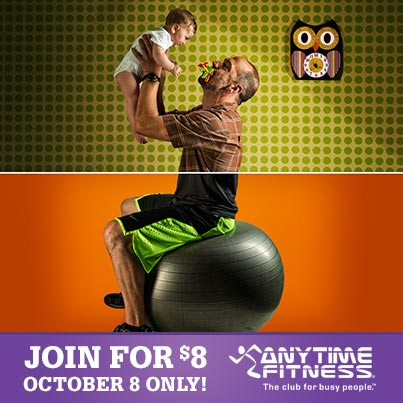 Join Anytime Fitness For 8 On October 8th 2013 1 Membership Thousands Of 24 7 Locations Deal Promo Anytime Fitness Fitness Ball Exercises