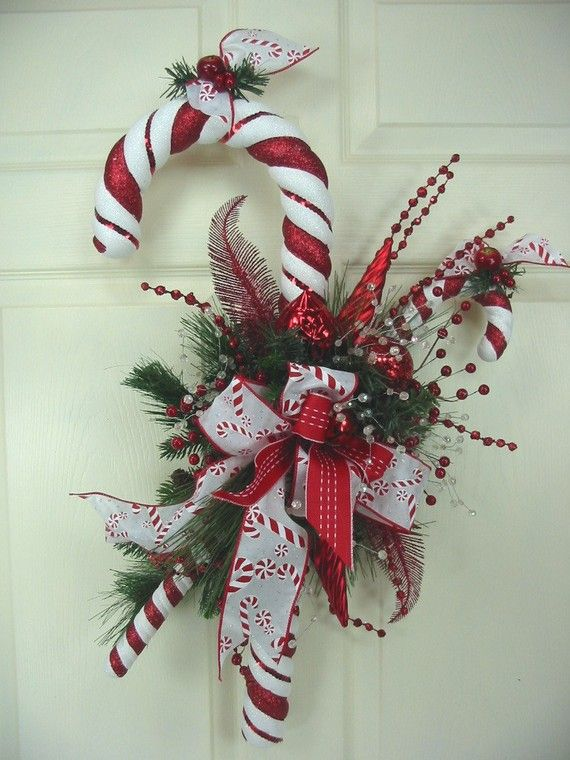 Big Candy Cane Decorations Big Treat Candy Cane Christmas Wreath Swagedsmithdesigns  The