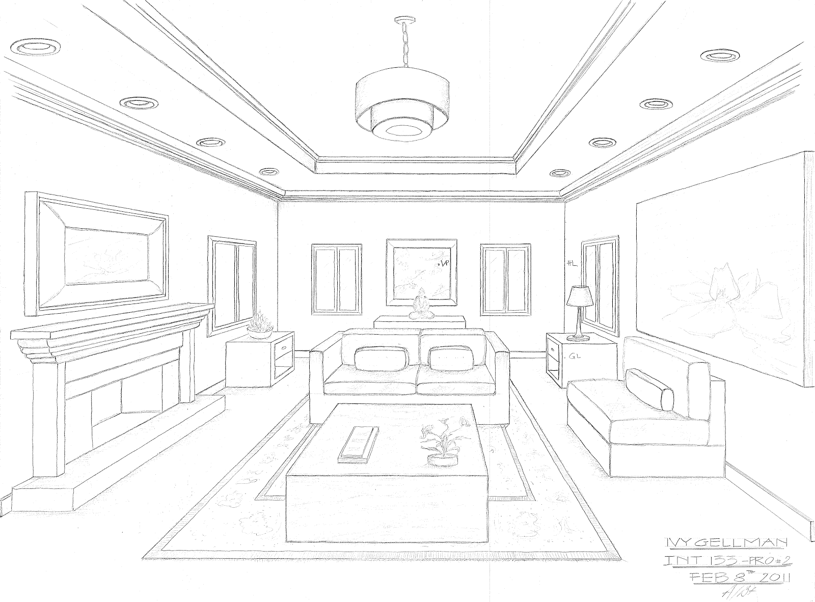 Living Room Png 1600 1182 Room Perspective Drawing Interior Design Sketches Drawing Interior
