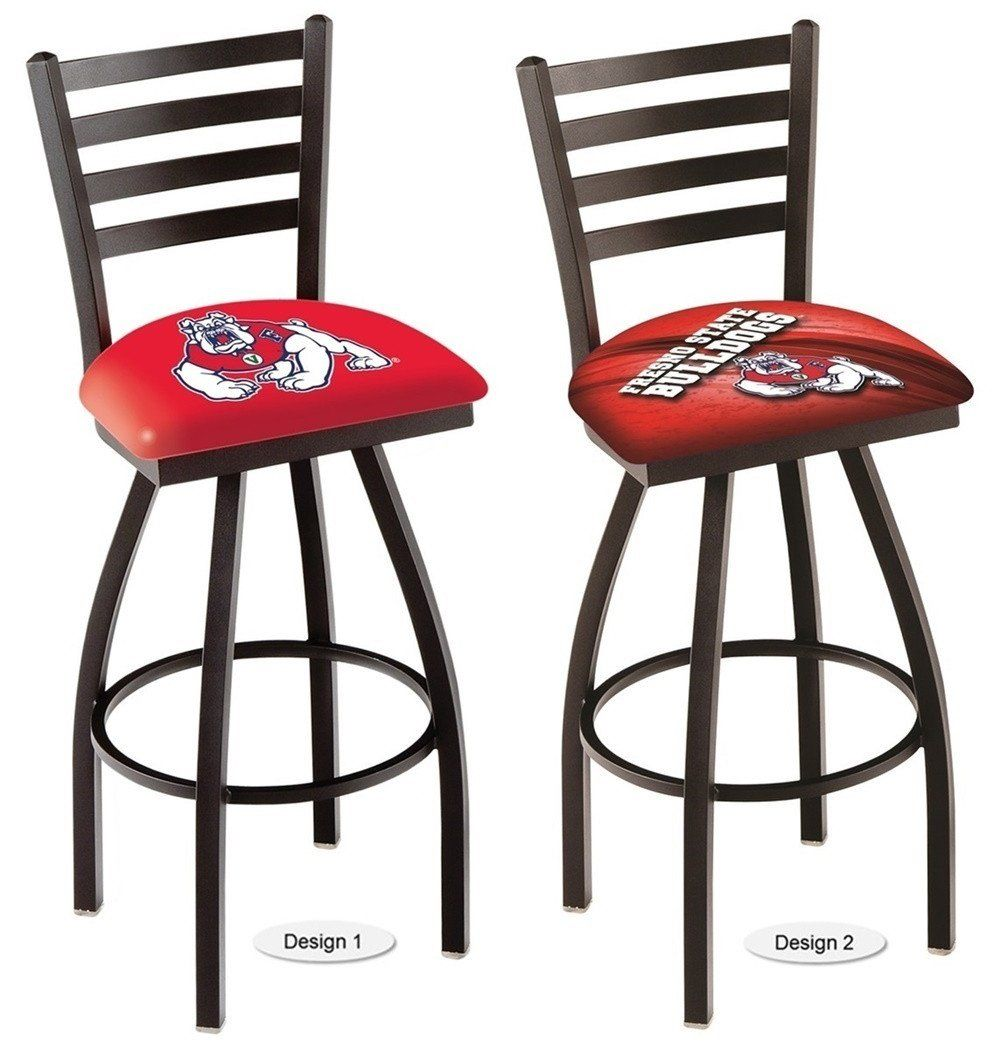 The NCAA Ladder Back Fresno State Bulldogs Bar Stool has a defined ladder back style with a black wrinkle finish. Free shipping. 2 sizes. Excellent quality. Visit sportsfansplus.com for details.