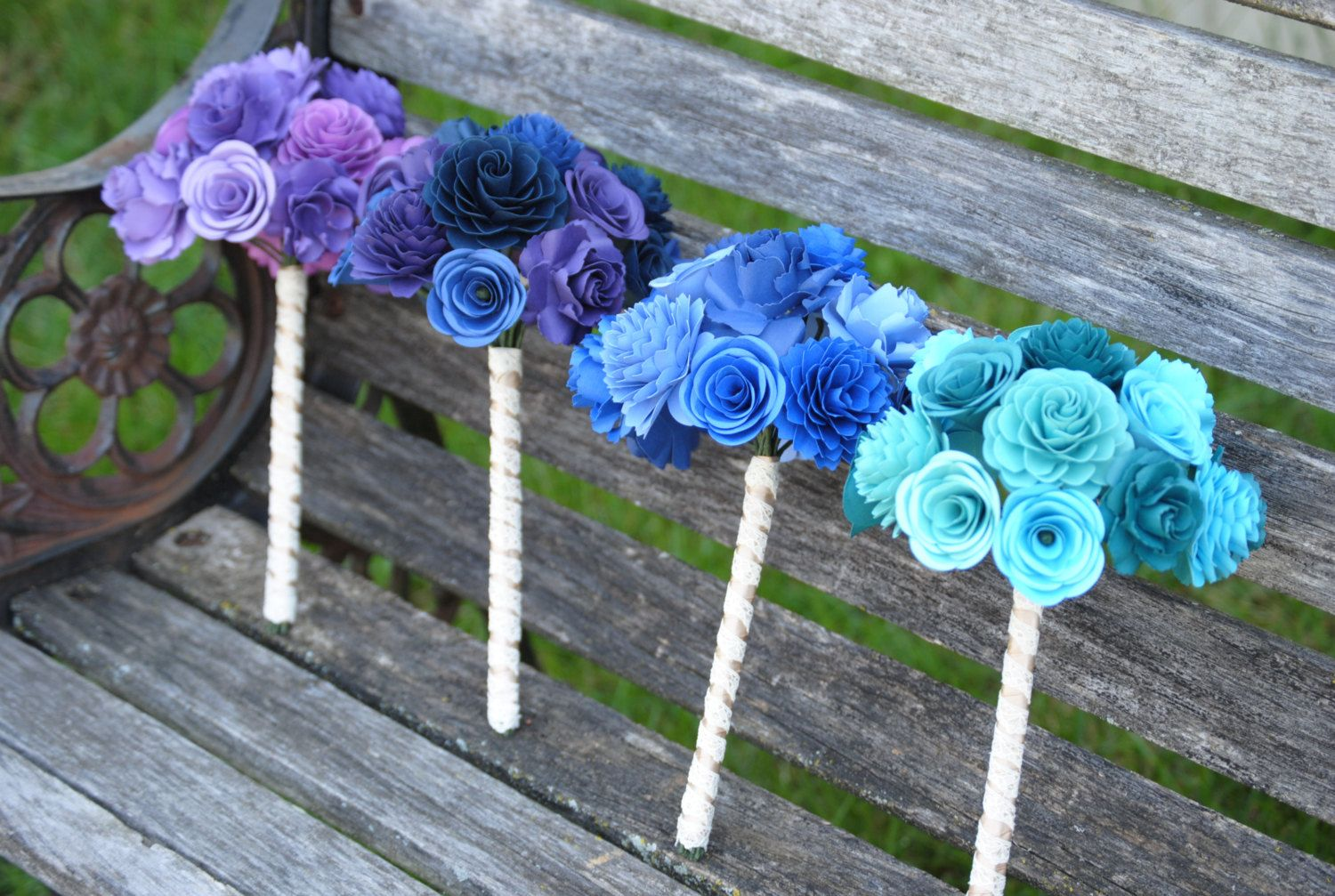 Custom Bridal & Bridesmaid Bouquets. Your Choice Of Colors, Paper, Flower Styles, Books, Etc. by JustCyndy on Etsy