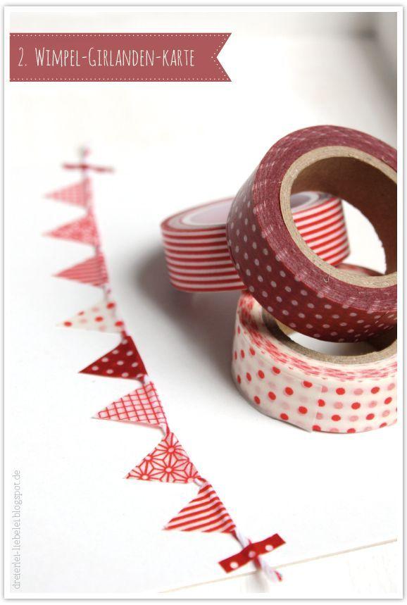 Einladungskarte mit Wimpel Kette aus Washi Tape - wunderhübsch *** Washi Tape Garland Invitation CardI - Love this easy DIY style
