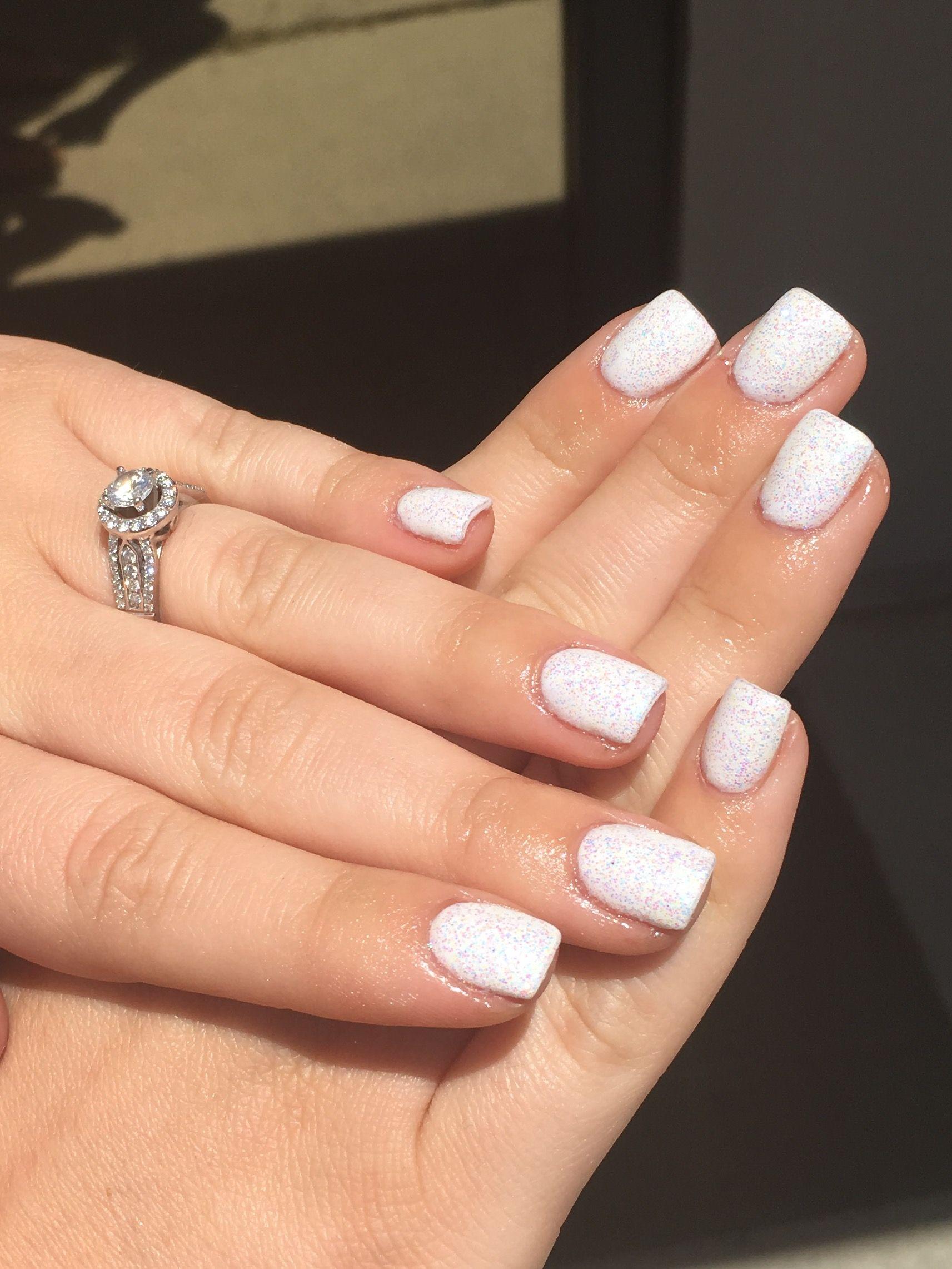 white shimmer gel nail polish