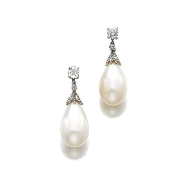 Pair of natural pearl and diamond pendent ear clips, late 19th century... ❤ liked on Polyvore featuring jewelry, earrings, pearl jewelry, pearl jewellery, diamond jewellery, diamond earrings and pearl diamond jewelry