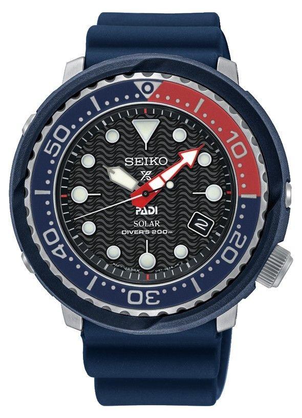 8c1c1fd7cdb6cd Seiko Prospex Herenhorloge PADI Solar Diver Tuna 20 atm SNE499P1. Mooie en  stoere duikershorloge.