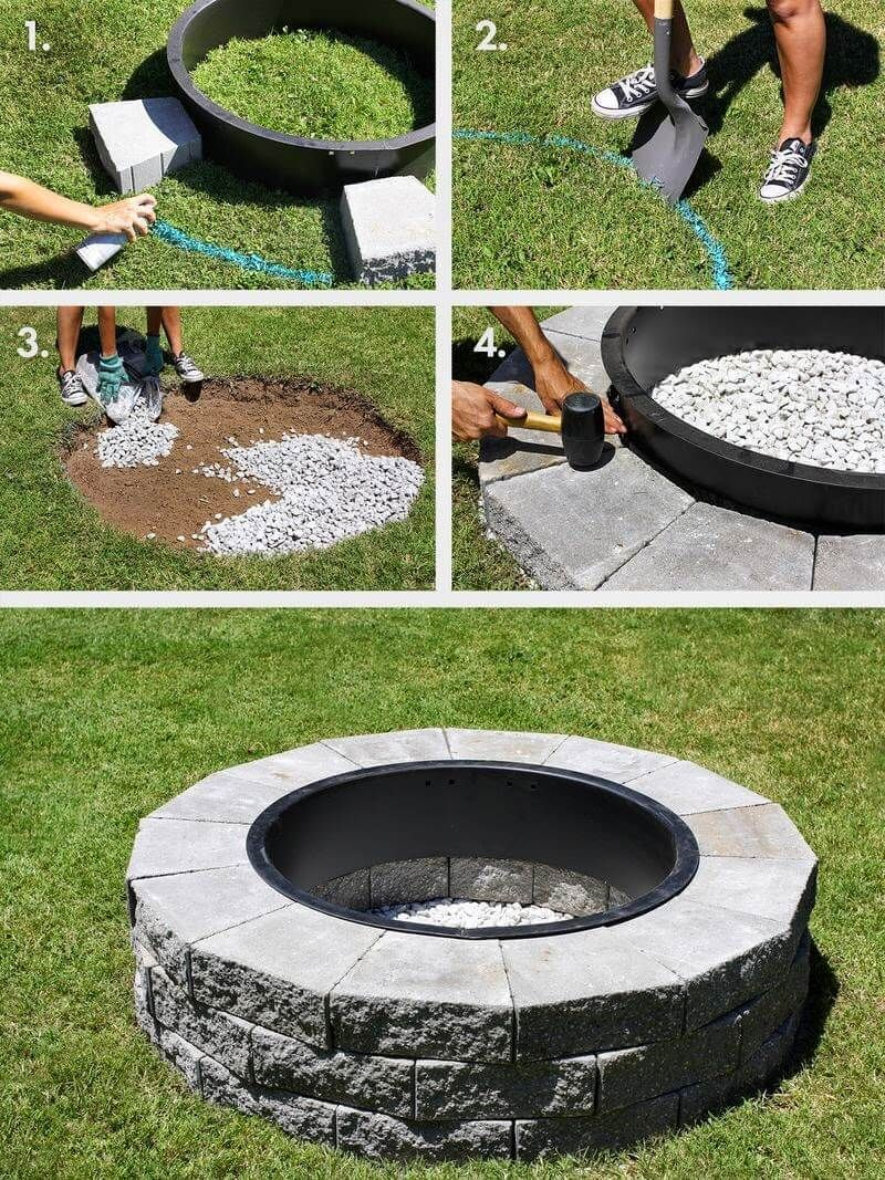 12 Easy and Cheap DIY Outdoor Fire Pit Ideas - The Handy Mano #diyfirepit