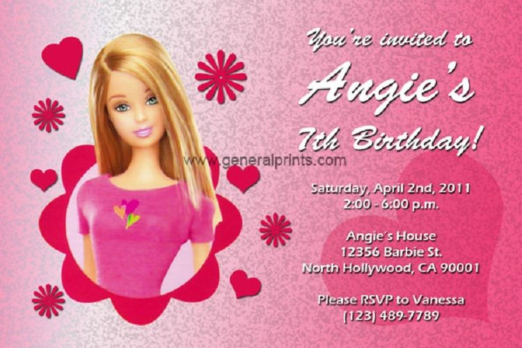 birthday invitation cards barbie editable party ideas pinterest