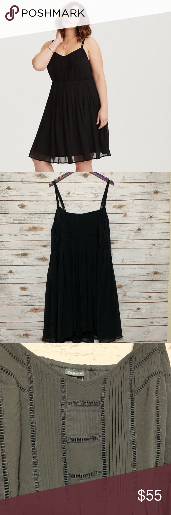 a479b1933ef Torrid black pleated chiffon mini dress NWT Torrid size 4 (4x