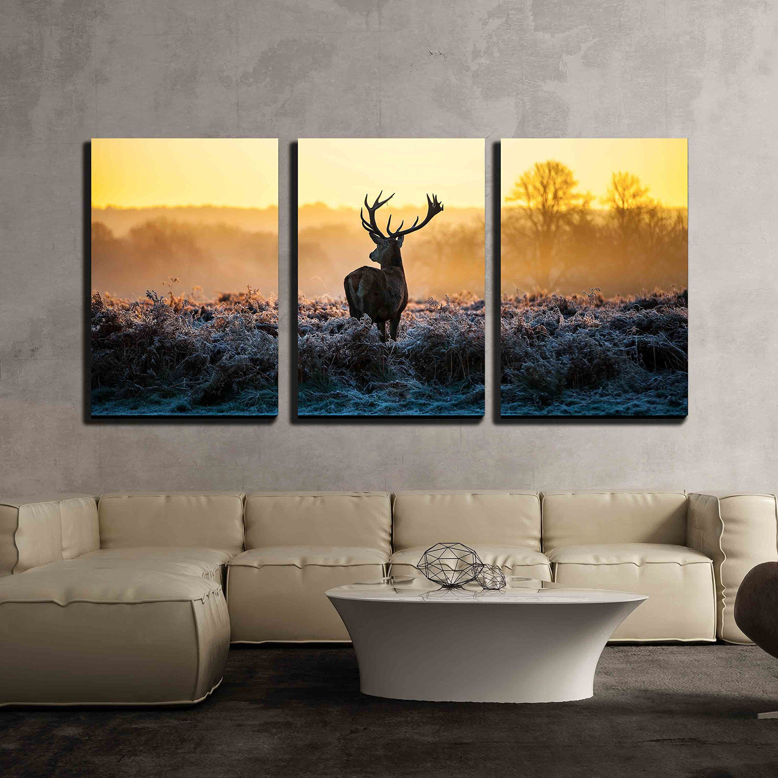 Wall26 3 Piece Canvas Wall Art Red Deer In Morning Sun Modern Home Art Stretched And Framed Ready To Hang 16 X24 X3 Panels Lavorist Canvas Wall Art