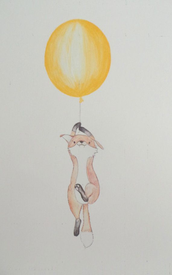 cute drawing of a floatting fox available in a5 a4 blue