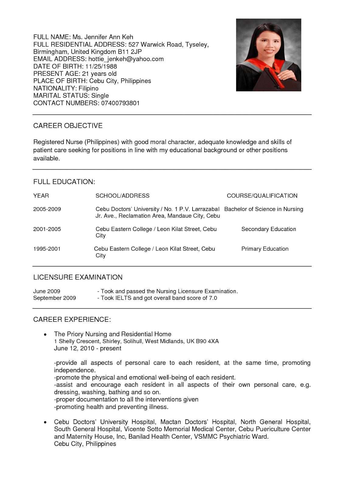 sample resume abroad for nurses