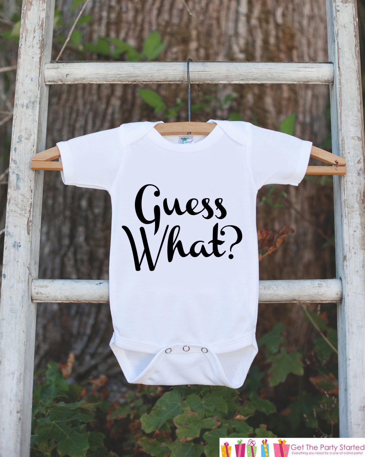 5137144cb3e8f Pregnancy Announcement - Guess What? Outfit for New Baby - Pregnancy ...