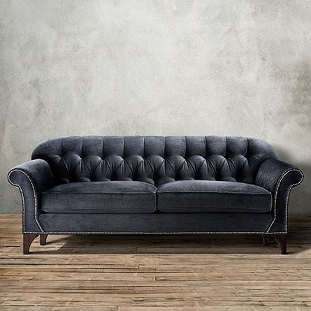 Preston Upholstered Tufted Sofa In Vernon Smoke Preston - Arhaus club sofa