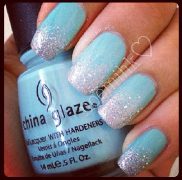 sparkly light blue nails nails pinterest blue nails