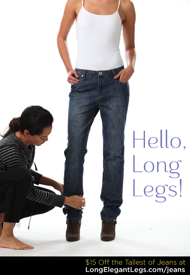 Tall jeans for the longest of leg, with length to spare. Now $15 Off for a limited time only: longelegantlegs.com/jeans #denim #jeans #flashsale