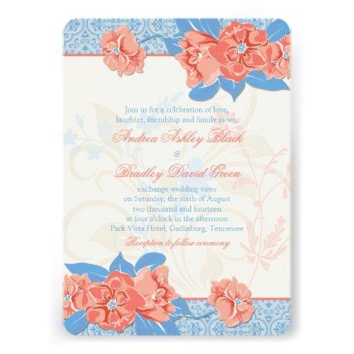 Coral Colored Wedding Invitations: Coral Aqua Blue Vintage Floral Wedding Invitation