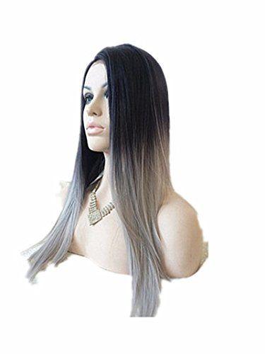 Dream Queen Damen Perücke, Kunsthaar, glatt, seidig, klebfrei, hitzebeständig, Ombré Hair 2Farbtöne, natürliches Schwarz / Grau Dream Queen http://www.amazon.de/dp/B013SK90LI/ref=cm_sw_r_pi_dp_gQP8wb070NH60