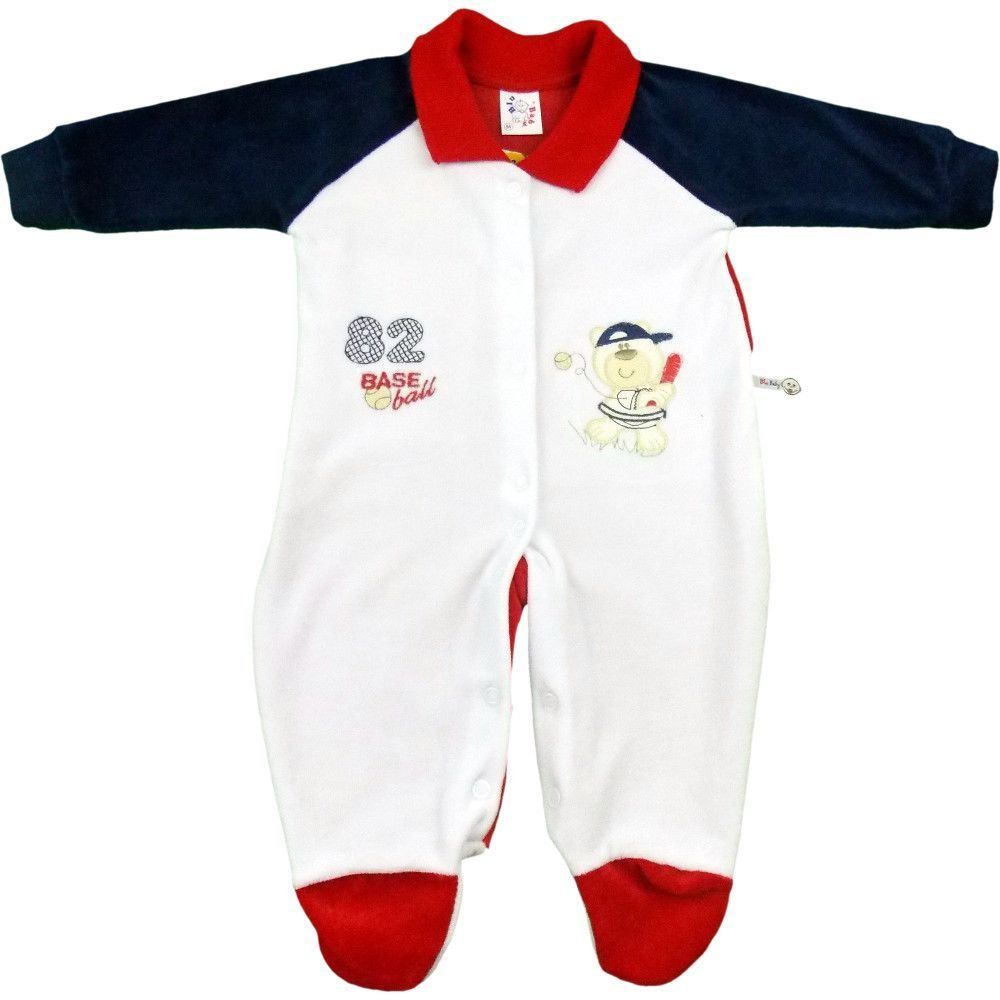 Macacão Longo de Plush Bebê Menino Gola Retilínea  2846b23036e