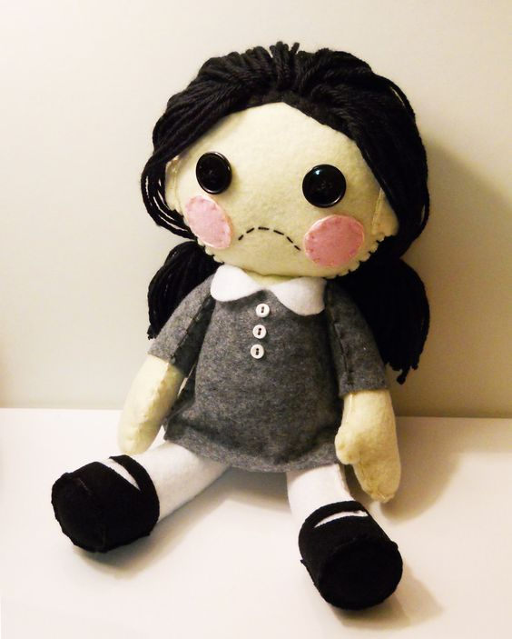 Felt little sad goth girl plush stuffed rag doll