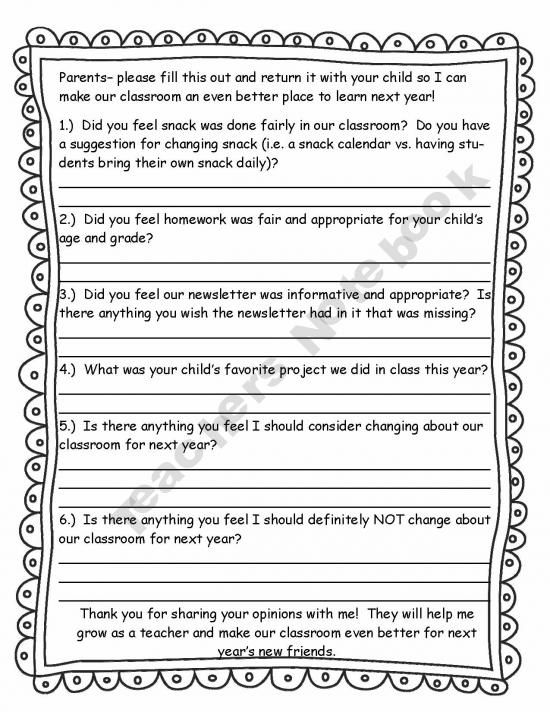 Parent feedback form Classroom - End of the Year Pinterest - orientation feedback form