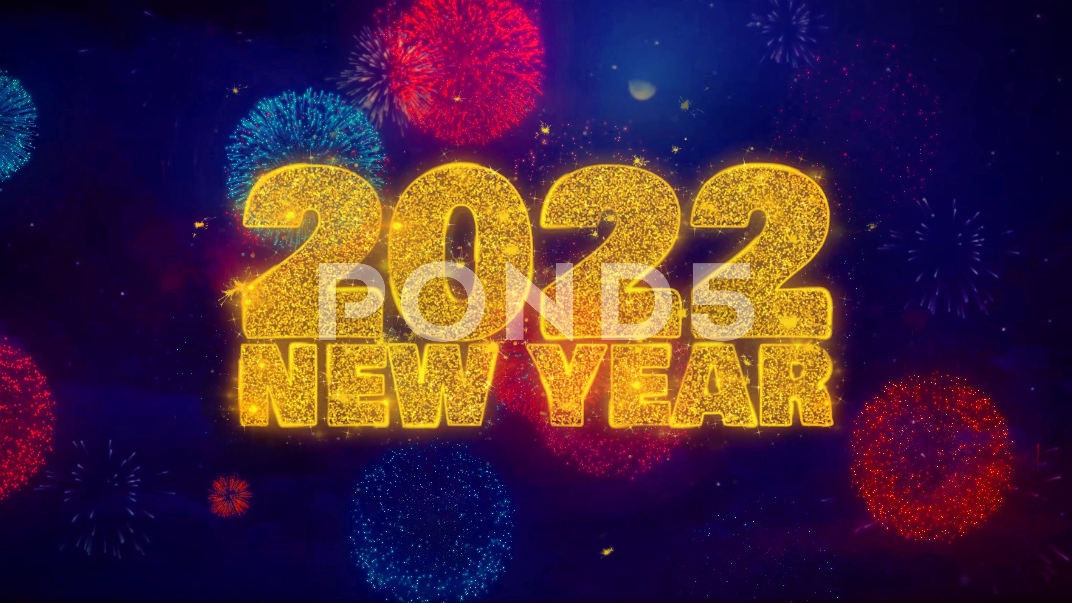 2022 New Year wish Text on Colorful Ftirework Explosion