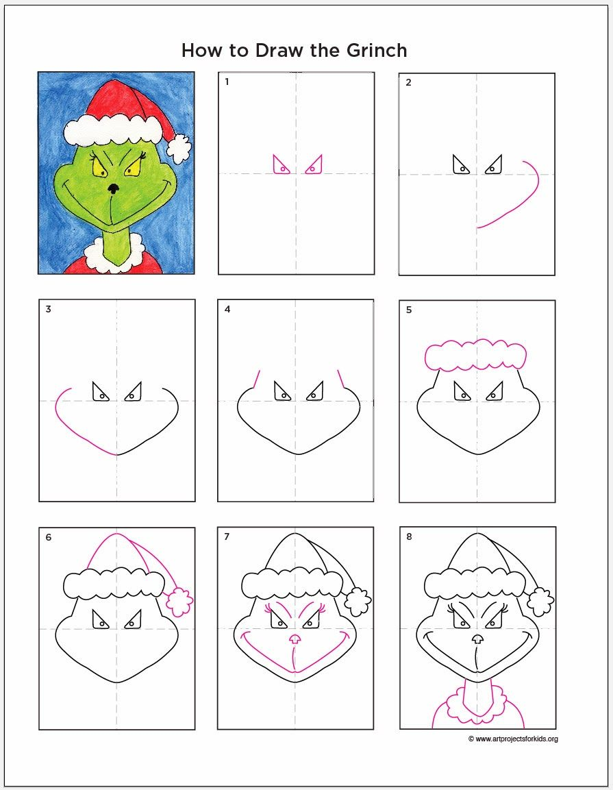 Art Projects For Kids How To Draw The Grinch Pollyanna