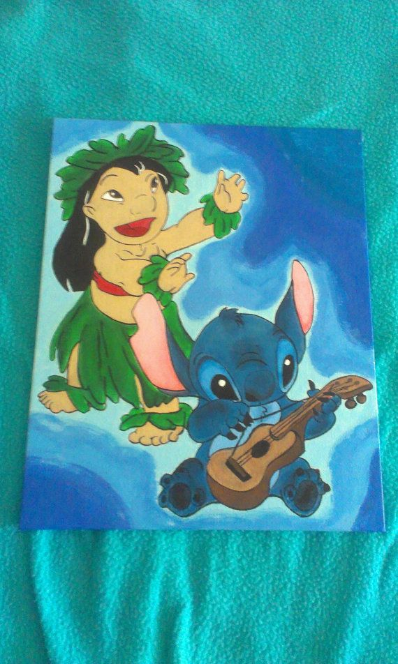 Disney inspired lilo and stitch hand painted canvas for Lilo and stitch arts and crafts
