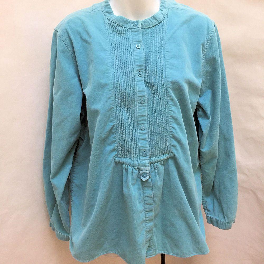 f04b5461450 LL Bean L Blue Corduroy Pintuck Long Sleeve Tunic Top  LLBean   ButtonDownShirt  Casual  plussize  plussizefashion
